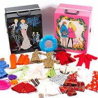Vintage Barbie Doll Clothes Lot 2 Cases Mixed Lot Shoes Mod Hippie 60s 70s