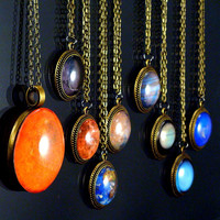 Planet Necklaces Science Astronomy Glass Tile Solar System Pendants