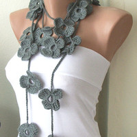 Handmade Crochet Grey  Flower Lariat Scarf Necklace by Periay