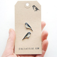 Hand drawn Coal tits. Bird Earrings
