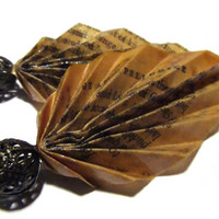 Vintage Book Page Leaf Earrings  Pride and by MenaceCreations