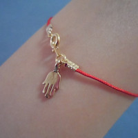 Hamsa Lucky Red/Black, Silk String, Bracelet