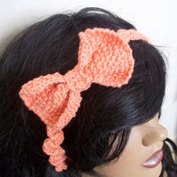 Bow Headband in Pinkish Orange -For adults or babys