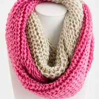 Pink two tone knit scarf