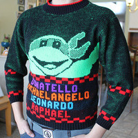 Rare Vintage Teenage Mutant Ninja Turtles TMNT Knit Sweater Shirt 80's 90's