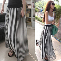 Women's Girls' Maxi Long Skirt Under dress Vertical Stripes Casual Chiffon