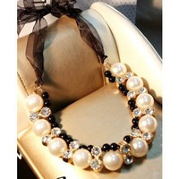 Bow Knot Ribbon Rhinestone & Pearl Necklace - Necklaces - Jewelry Free shipping