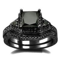 2.01ct Black Princess Cut Diamond Engagement Ring Wedding Set 14k Black Gold: Jewelry: Amazon.com
