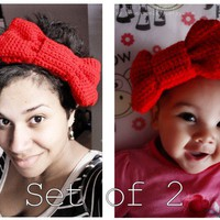 Mom and Baby Valentine Red Bow Headband Set - Crochet Adult Headband Women Headband Baby Headband Infant Headband (Choose Baby Size)