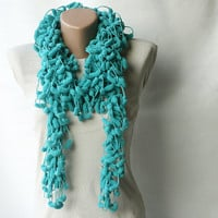 Crochet scarf mulberry teal green turquoise blue by violasboutique
