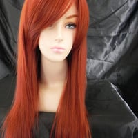 20% OFF SALE Copper Red / Long Straight Layered Wig