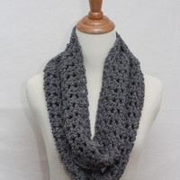 Heather Grey Infinity Cowl Neck Scarf by larrie2121 on Etsy