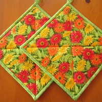 Pot Holders - Bright Flowers