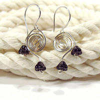 Sterling Silver Spiral Earrings with Black Glass Flowers