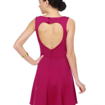 Cute Pink Dress - Magenta Dress - Heart Dress - $40.00