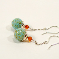 Robins Egg Blue Vintage Porcelain Bead Earrings with Amber and Sterling Silver Chain