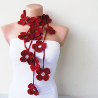 Hand Crochet Dark Red Ruby Flower Lariat Scarf by fairstore