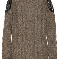 Elizabeth and James|Studded leather-paneled cable-knit sweater|NET-A-PORTER.COM