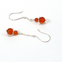 Tiny Amber and Sterling Silver Chain Drop Earrings