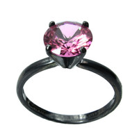 Pink Tourmaline Ring Solid Sterling Silver,Tiffany Set 8mm Pink Tourmaline Gemstone Ring