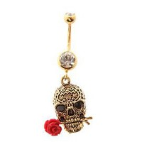 Morbid Metals 14G Gold Skull Red Rose Navel Barbell - 162963