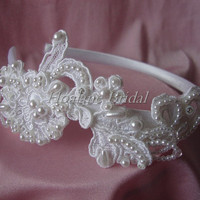 Bridal headpiece, lace Appliques on headband, Bridl lace headband