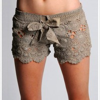 LeTarte Taupe Crochet Shorts | Shop New and Vintage |  Celebrity Style