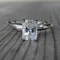 Emerald Cut Moissanite Twig Engagement Ring, One Carat