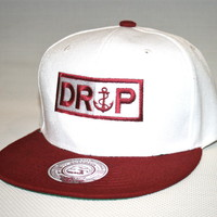 Drop The Anchor Clothing — Burgundy/White DROP Snapback