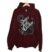 Drop The Anchor Clothing  Anchor Hoodie (Maroon)