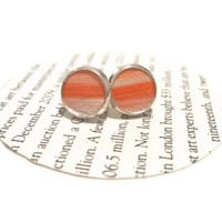 Orange and White Leather Stud Earrings, Leather Earrings, Earstuds, Ear Stud Earring