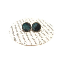 Black and Teal Leather Stud Earrings, Leather Earrings, Earstuds, Ear Stud Earring