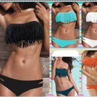 Amazon.com: Zicac Beauty Women Favor 2pcs Padded boho fringe top strapless bikini Swimwear 6 Color Bikini set SEX Swimwear Women&#x27;s Strapless Top (black, L US-10(L)): Clothing