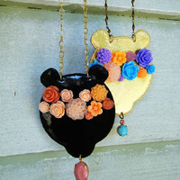 LIMITED EDITION - Vegan Leather Necklace - Floral Wreath Bear in BLACK