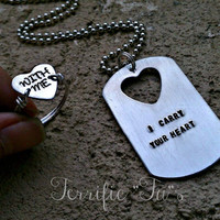I Carry Your Heart With Me- Personalized Hand Stamped Dog Tag Necklace and Ring Set