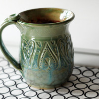 The Love Mug // One Large Slab Built Textured Mug by MissPottery
