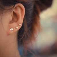 Three stars sterling silver ear pins
