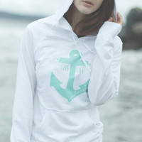 Live Life Anchored Raw Edge Hoodie White/Mint