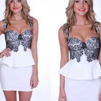 White Peplum Dress with Lace Bodice and Sweatheart Neckline