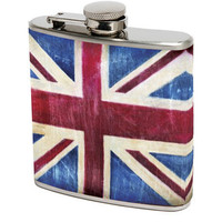 Union Jack Stainless Steel 6 Oz Flask - Unique Vintage - Cocktail, Evening & Pinup Dresses