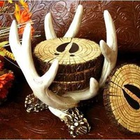 Old West Deer Antler Coaster Set