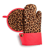 Leopard Print With Red Trim Ovent Mitt & Pot Holder - Unique Vintage - Cocktail, Evening & Pinup Dresses