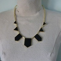 Geometric Necklace Black and Gold