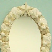 Beach Decor Seashell Beach Mirror by SeashellCollection on Etsy