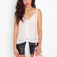 Chiffon Tie Tank - White in Clothes Tops Tanks at Nasty Gal