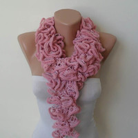 Pink - Ruffle Crochet Knit Necklace Scarf - Pink - Soft - Cowl - Scarf by Umbrella Design
