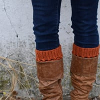 Womens Crocheted Boot Cuffs in Burnt Pumpkin // Boot Toppers // Boot Socks // Orange