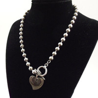 Silver charm necklace vintage double heart by HopscotchCouture