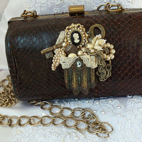 Snake skin purse deep brown vintage handbag by HopscotchCouture