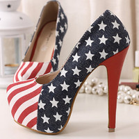 Womens Flag Inspired Pumps